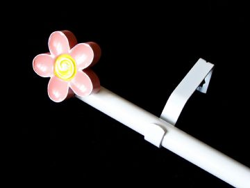1.2m - 2.1m Extendable Eyelet Curtain Pole with 3D FLOWER Finials
